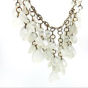 Moon Stone Tear Drop Dangle Strands Chain Necklace